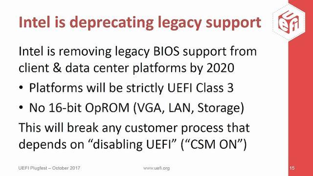 Intel 宣布 2020 年完全封闭 UEFI 相容传统 BIOS 模式,Windows 7 等旧版 32 位系统将无硬件可安装