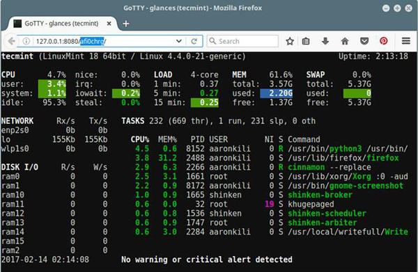 GoTTY:把你的Linux终端放到浏览器里面