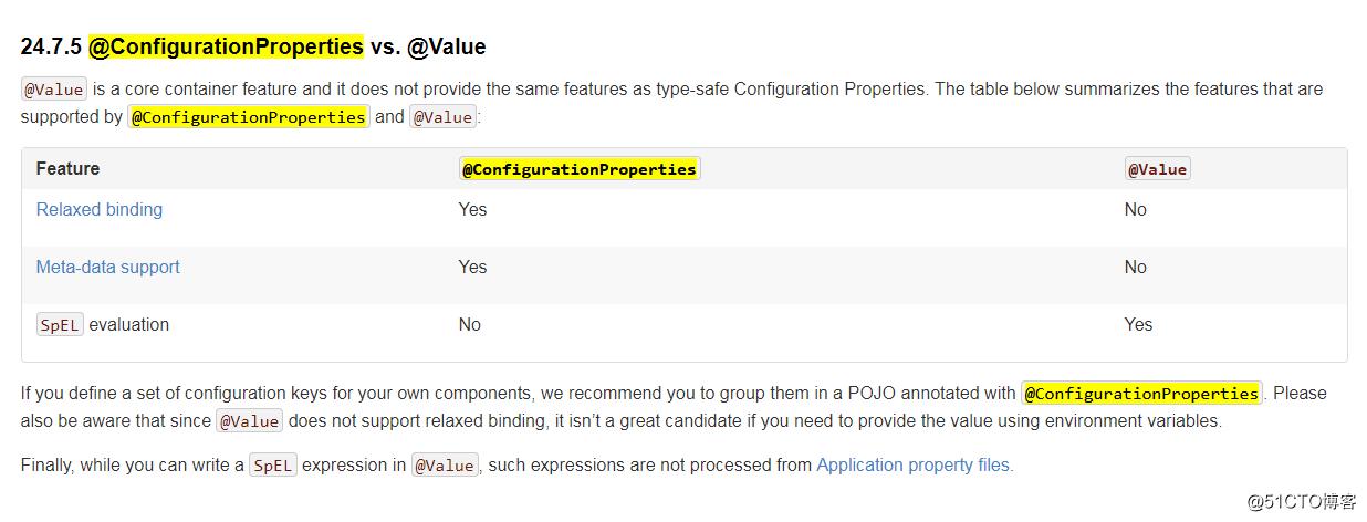 spring boot @ConfigurationProperties vs  @Value