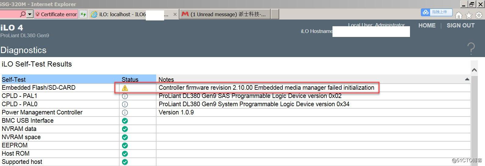 HP DL380G9 iLO降级Degrated及存储失败storage Failed报错如何