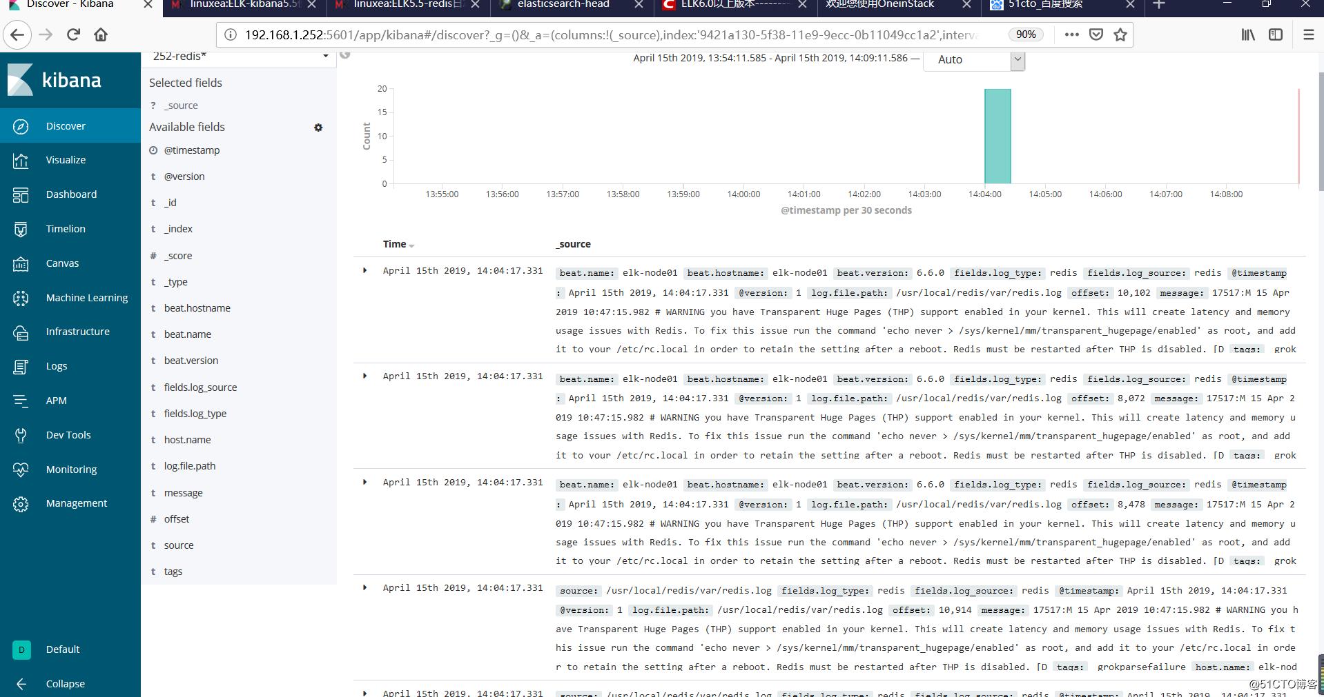 ELK之-redis(错误,警告)日志使用filebeat收集