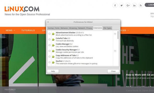 Midori 浏览器的插件窗口